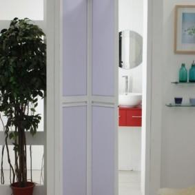 Двустворчатая дверь-гармошка в узком проеме