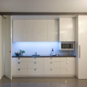 Линейная кухня за дверью-гармошкой