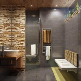 Дизайн ванной с серой керамикой