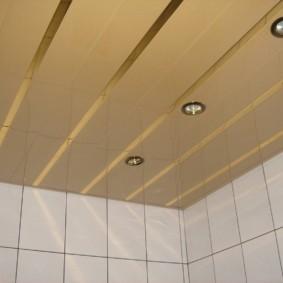 Ровные потолок в ванной городской квартиры