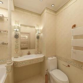 Белый полотенцесушитель на стене ванной
