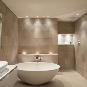 Точечное освещение ванной в стиле минимализма