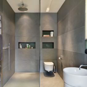 Отделка ванной серым керамогранитом