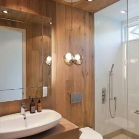 Отделка ванной деревянными панелями