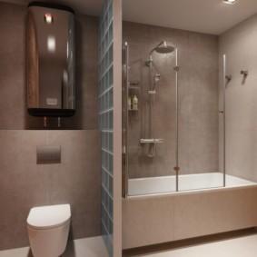 Зонирование ванной стеклянными блоками
