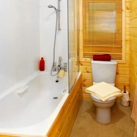 Сосновая вагонка в интерьере ванной