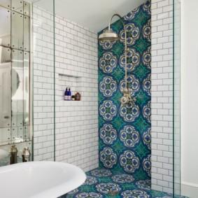 Зонирование ванной с помощью настенной плитки