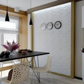 Декор акцентной стены кухни объемными панелями