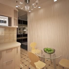 Круглый стол в обеденной зоне кухни
