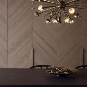 Укладка елочкой деревянных панелей