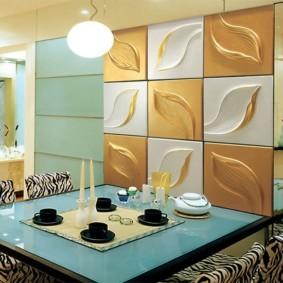 Зонирование кухни декоративной перегородкой
