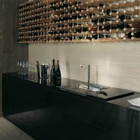 Линейная кухня с баром вместо навесных шкафов