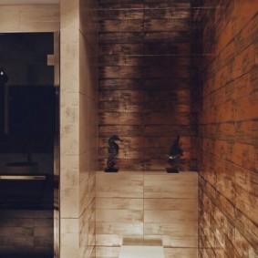 Подвесной унитаз за перегородкой в ванной комнате