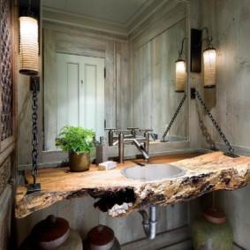 Столешница из массива дерева в туалете стиля лофт
