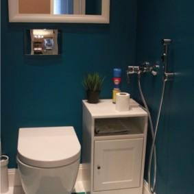 Дизайн туалета с синими стенами