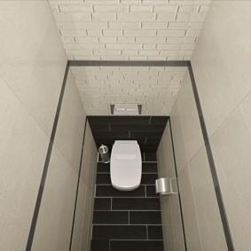 Черный пол в туалете с белыми стенами