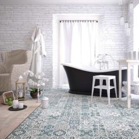 Зонирование ванной комнаты напольным покрытием