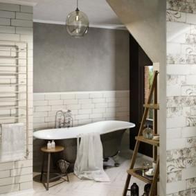 Плитка шебби шик на стене ванной