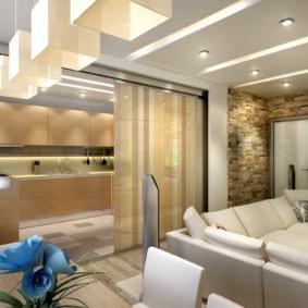 Освещение кухни-гостиной в загородном доме