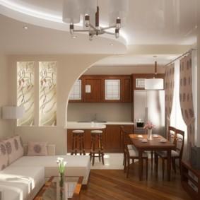Двухуровневый потолок со встроенными светильниками