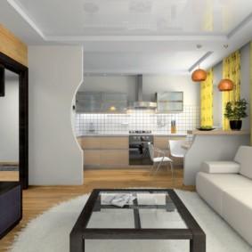 Желтые шторы в кухне-гостиной