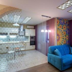 Нитяные шторы в роли декоративной перегородки