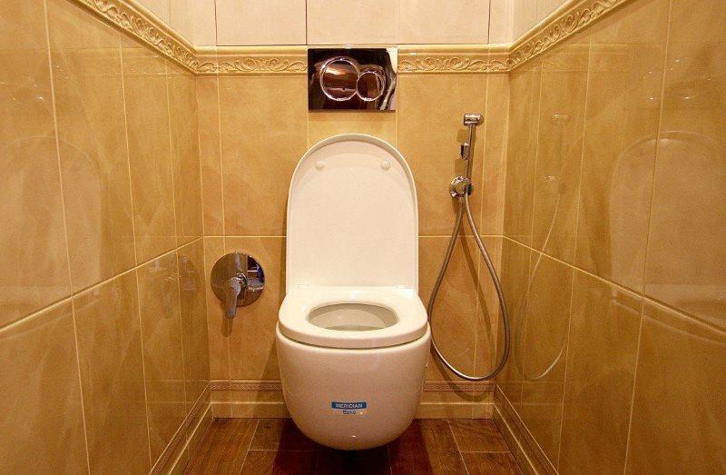 Гигиенический душ в туалете под лестницей