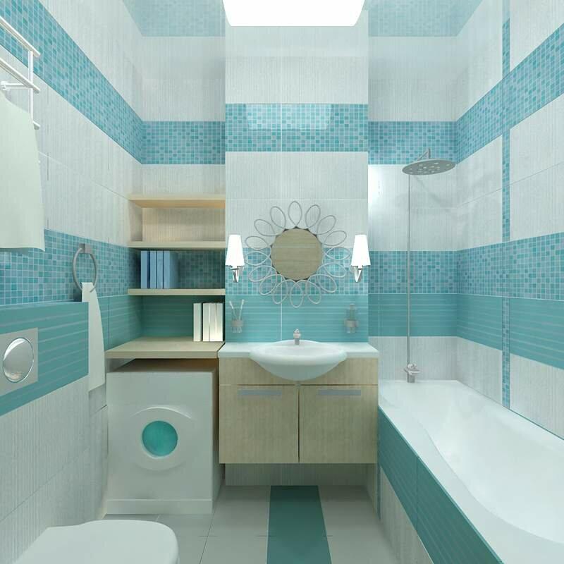 Мелкая плитка бирюзового цвета на стене компактной ванной