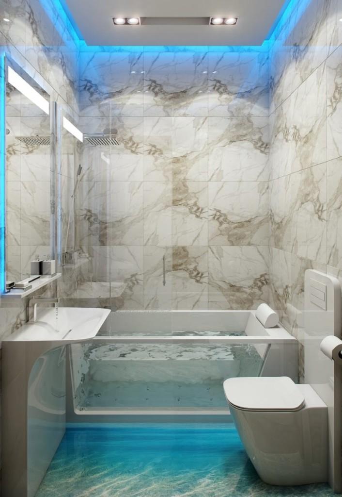 Голубой свет от встроенной подсветки в маленькой ванной