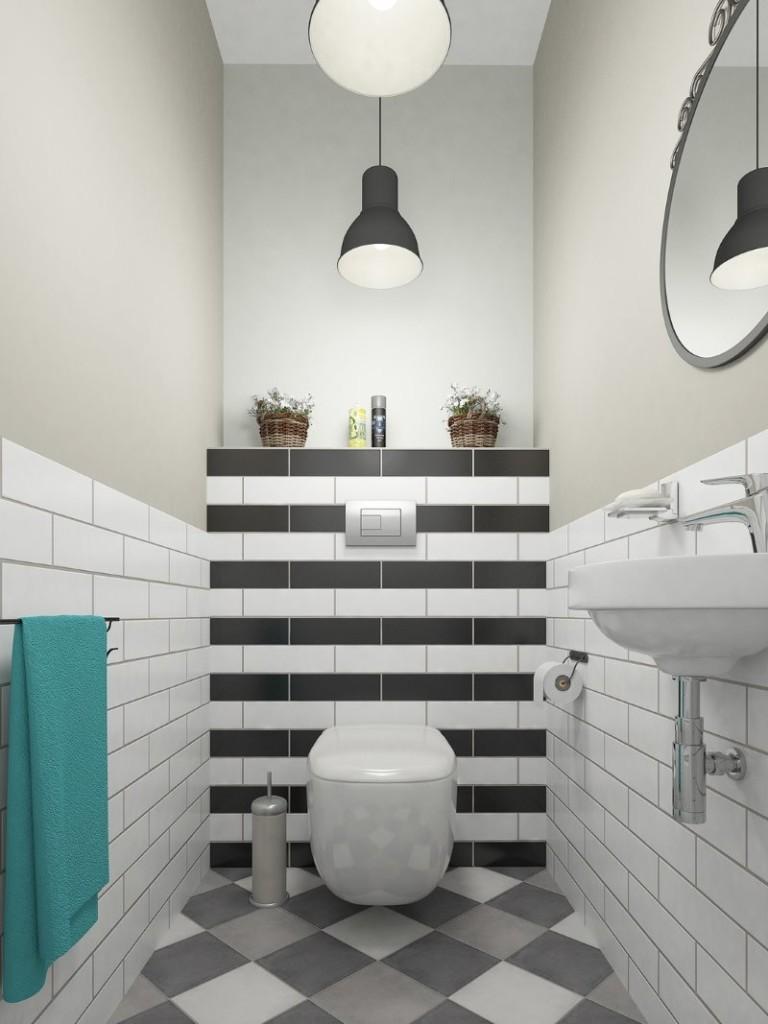 Плитка кабанчик на стене компактного туалета
