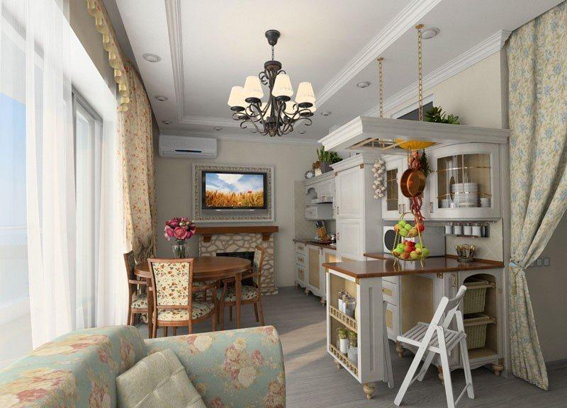 Уютная кухня-гостиная в деревенском стиле