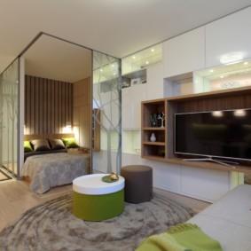 спальня гостиная 17 кв м фото оформление