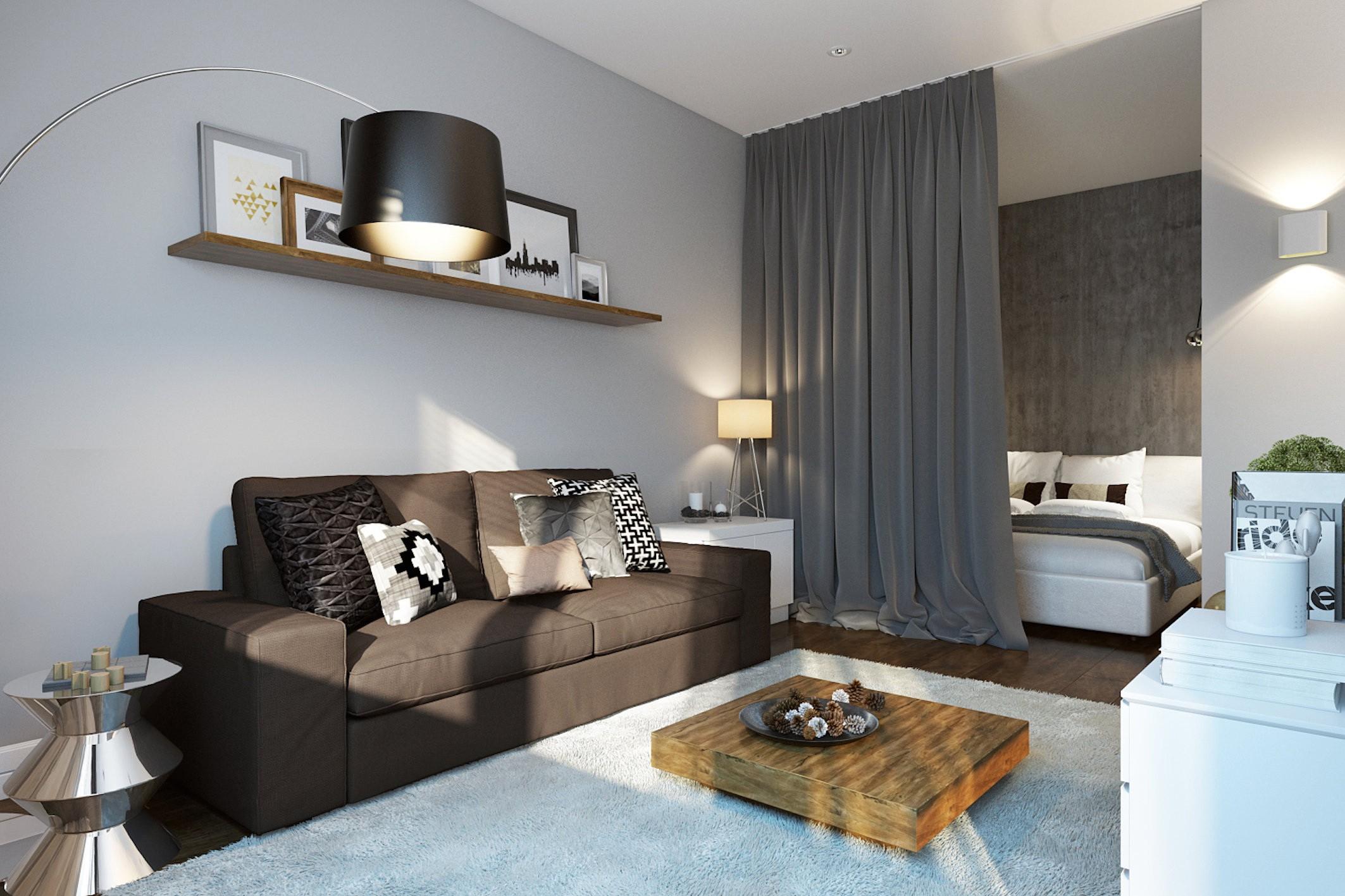 спальня гостиная 17 кв м идеи интерьер
