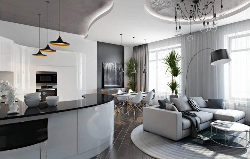 Дизайн кухни-гостиной 30 кв м в стиле хай-тек