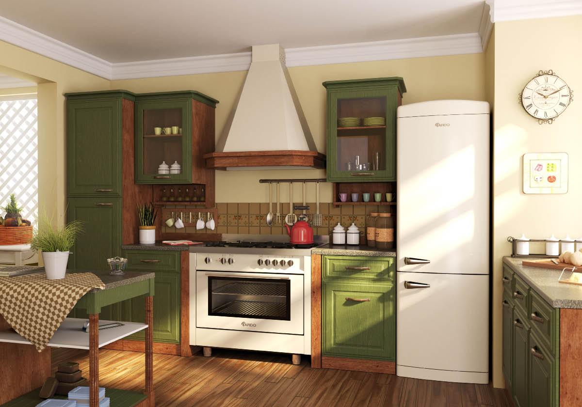 холодильник с зеленым гарнитуром