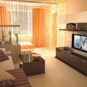 спальня-гостиная 18 кв.м. интерьер