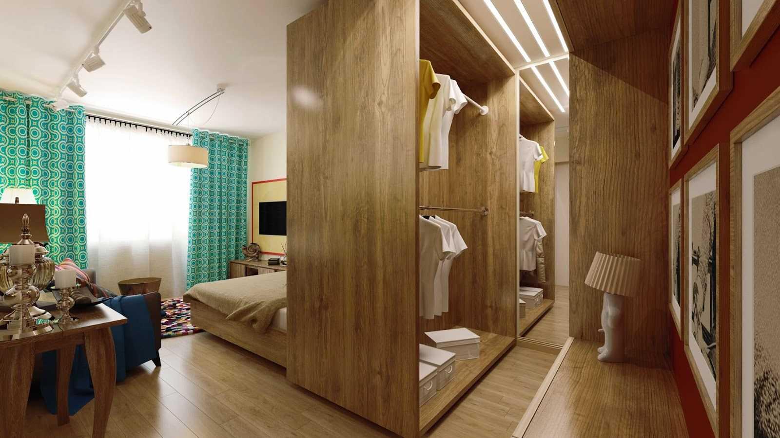 спальня-гостиная 18 кв.м. с гардеробной