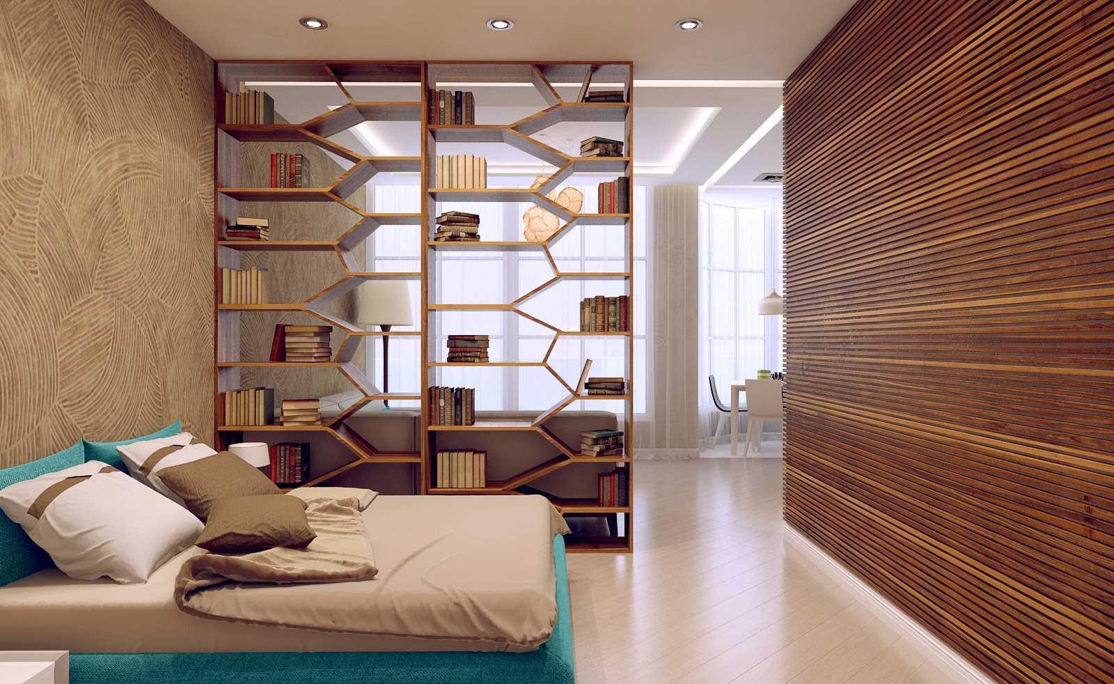спальня-гостиная 18 кв.м. зонирование полками
