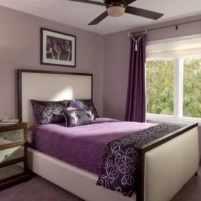 интерьер спальни в фиолетовых тонах декор фото