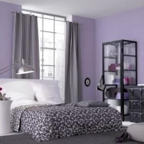 интерьер спальни в фиолетовых тонах фото декор