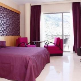 интерьер спальни в фиолетовых тонах фото декора