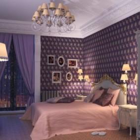 интерьер спальни в фиолетовых тонах фото дизайн
