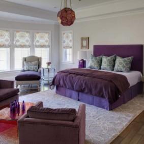 интерьер спальни в фиолетовых тонах фото виды