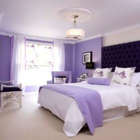 интерьер спальни в фиолетовых тонах идеи декор
