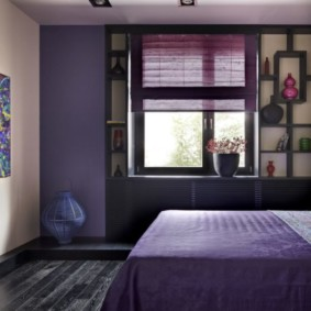 интерьер спальни в фиолетовых тонах идеи декора