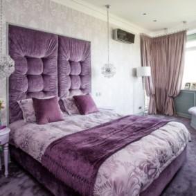 интерьер спальни в фиолетовых тонах идеи дизайна