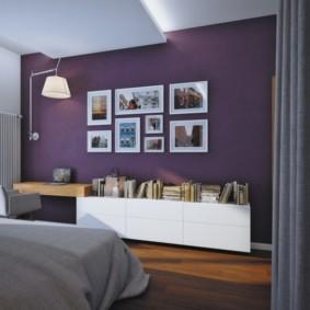 интерьер спальни в фиолетовых тонах идеи виды