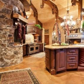 Керамогранитное покрытие на полу кухни