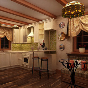 Короткие шторы на кухонных окнах
