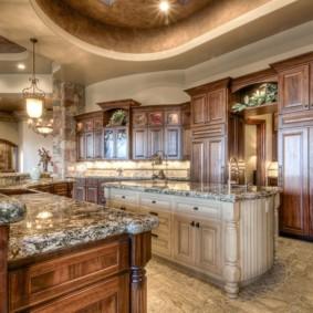 Искусственный камень в кухонной мебели